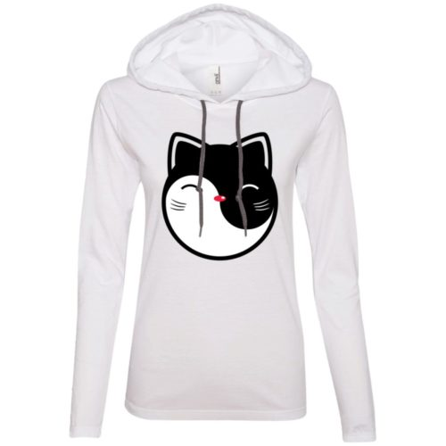 Yin Yang Cat Ladies' Lightweight T-Shirt Hoodie