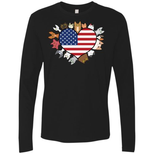 Heart Cat USA Premium Long Sleeve Tee