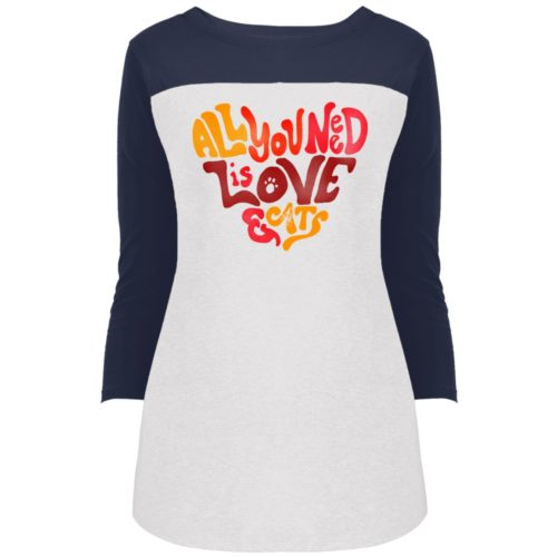 All You Need Is Love & Cats Colorblock 3/4 Sleeve