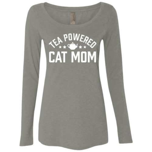 Tea Powered Mom Fitted Scoop Neck Long Sleeve