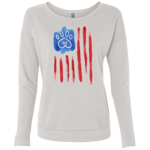 American Flag Paw Scoop Neck Sweatshirt