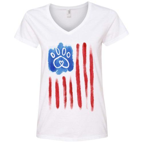 American Flag Paw Ladies' Premium V-Neck