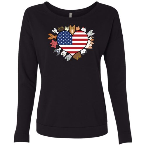 Heart Cat USA Scoop Neck Sweatshirt