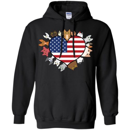 Heart Cat USA Pullover Hoodie