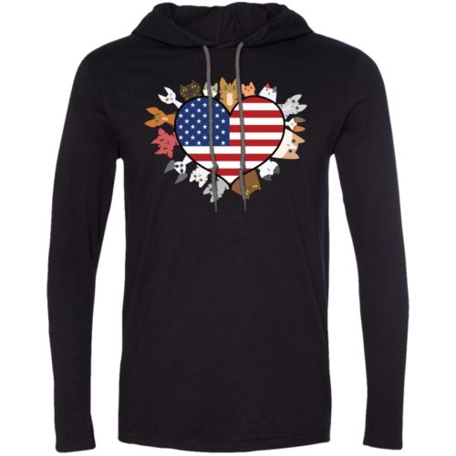 Heart Cat USA T-Shirt Hoodie