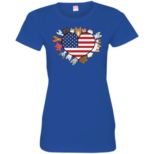 Heart Cat USA Fitted Tee