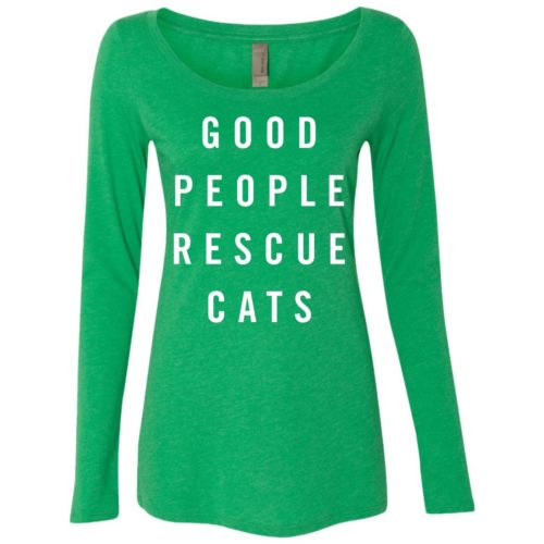 Good People Rescue Cats Fitted Scoop Neck Long Sleeve