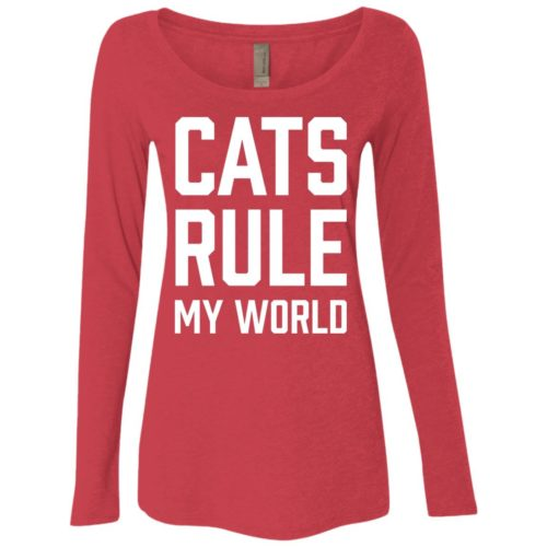 Cats Rule My World Fitted Scoop Neck Long Sleeve