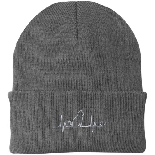 Cat Heartbeat Embroidered Knit Cap