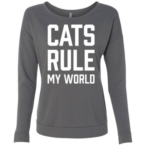 Cats Rule My World Scoop Neck Sweatshirt