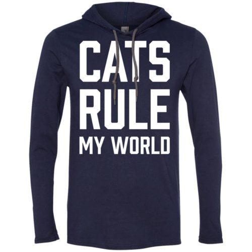 Cats Rule My World Lightweight T-Shirt Hoodie