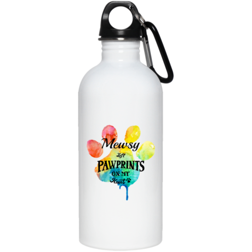 Pawprints On My Heart Personalized Stainless Steel Water Bottle