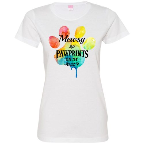 Pawprints On My Heart Personalized Ladies' Premium T-Shirt