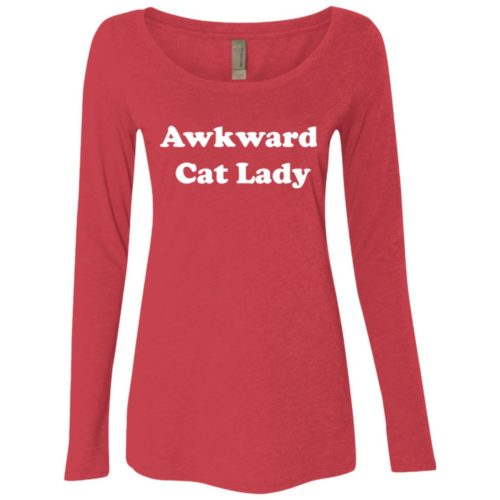 Awkward Cat Lady Fitted Scoop Neck Long Sleeve