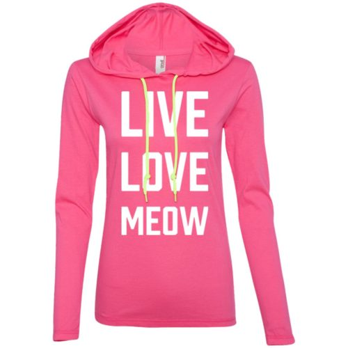 Live Love Meow Fitted T-Shirt Hoodie