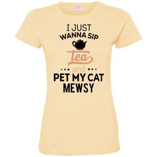 Sip Tea & Pet My Cat Personalized Ladies' Premium T-Shirt