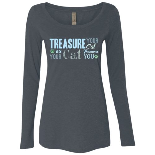 Treasure Your Cat Fitted Scoop Neck Long Sleeve