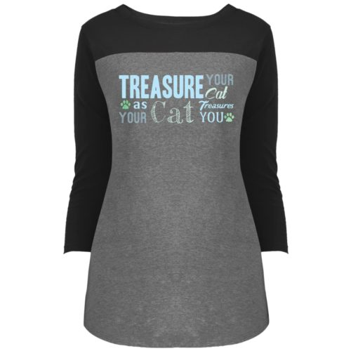 Treasure Your Cat Colorblock 3/4 Sleeve