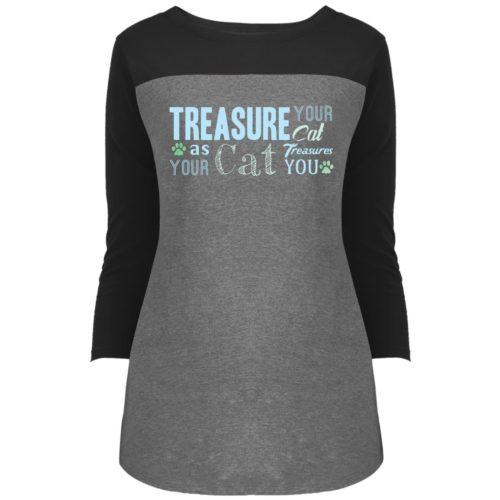 Treasure Your Cat Colorblock 3/4 Sleeve