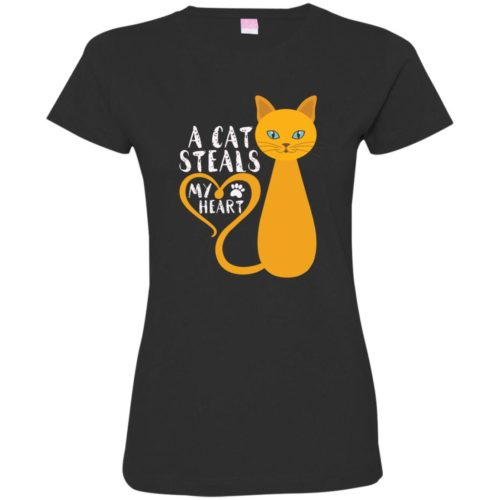 A Cat Steals My Heart Fitted Tee