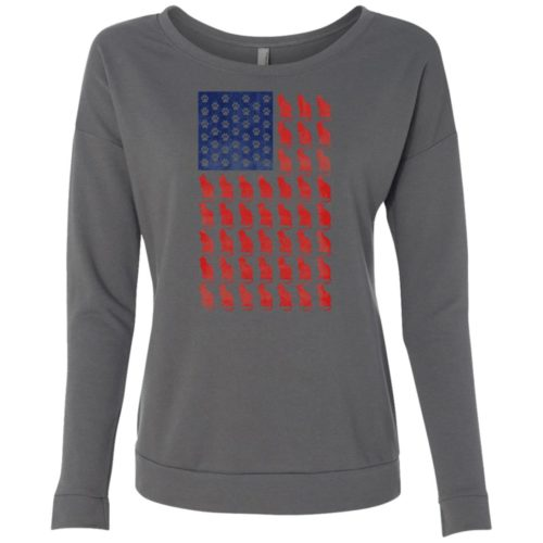 Red Cat Blue Paw Flag Ladies' Scoop Neck Sweatshirt