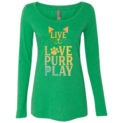 Live Love Purr Play Fitted Scoop Neck Long Sleeve