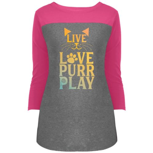 Live Love Purr Play Colorblock 3/4 Sleeve