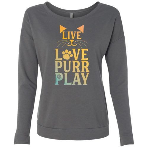 Live Love Purr Play Scoop Neck Sweatshirt