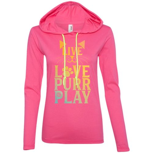 Live Love Purr Play Fitted T-Shirt Hoodie