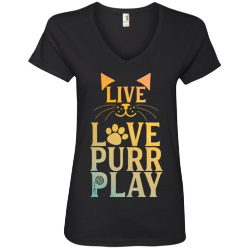 Live Love Purr Play V-Neck Tee
