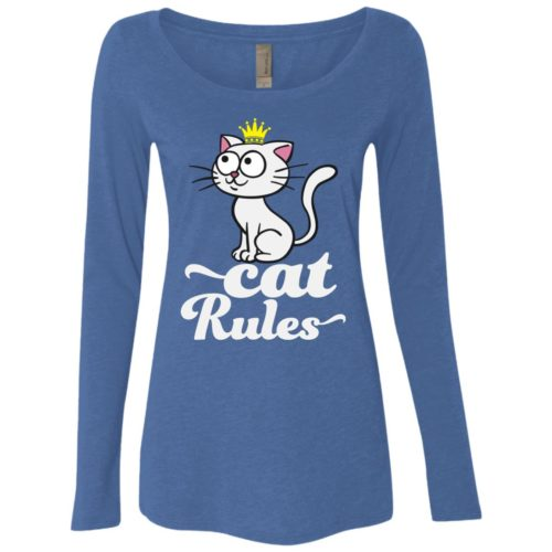 Cat Rules Fitted Scoop Neck Long Sleeve