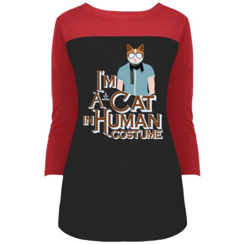 I'm A Cat In Human Costume Colorblock 3/4 Sleeve