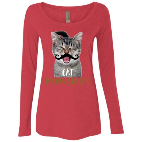 Cat Meowstache Fitted Scoop Neck Long Sleeve