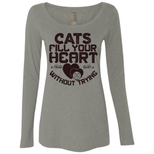 Cat Fills Your Heart Fitted Scoop Neck Long Sleeve