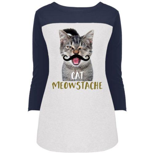 Cat Meowstache Colorblock 3/4 Sleeve