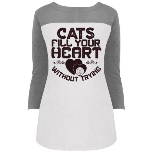 Cat Fills Your Heart Colorblock 3/4 Sleeve