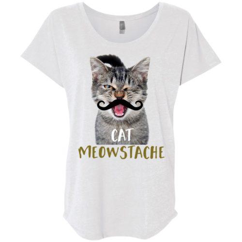 Cat Meowstache Slouchy Tee