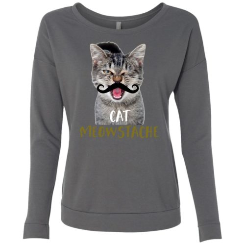 Cat Meowstache Scoop Neck Sweatshirt