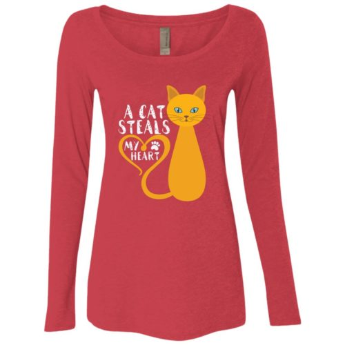 A Cat Steals My Heart Fitted Scoop Neck Long Sleeve