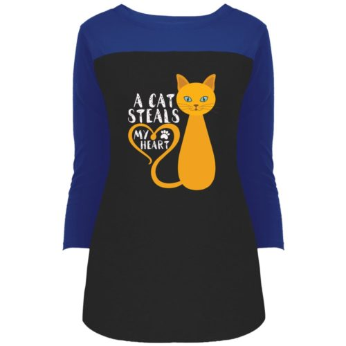 A Cat Steals My Heart Colorblock 3/4 Sleeve