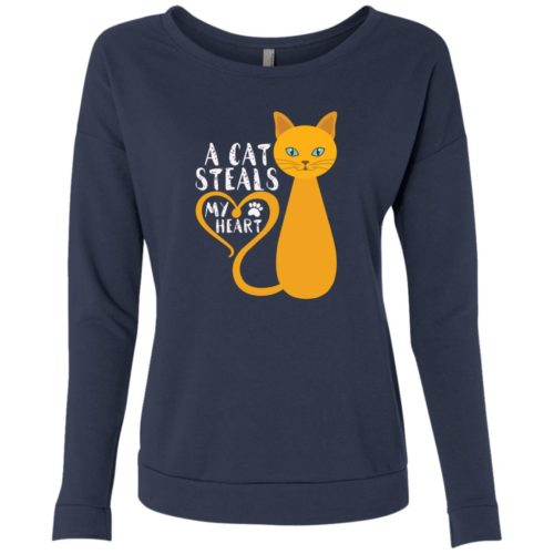 A Cat Steals My Heart Scoop Neck Sweatshirt