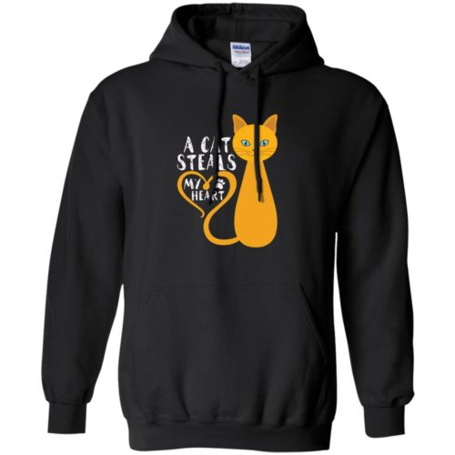 A Cat Steals My Heart Pullover Hoodie
