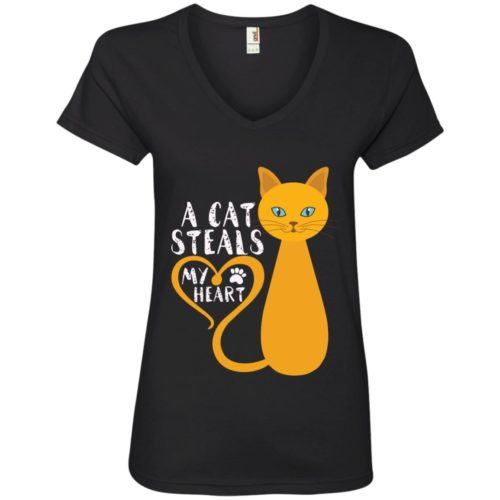 A Cat Steals My Heart V-Neck Tee