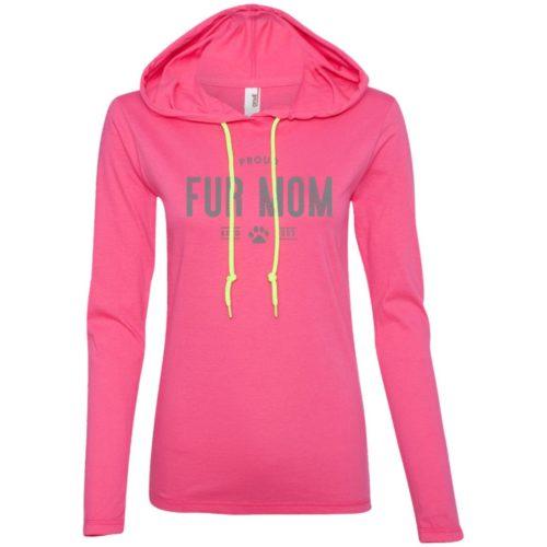 Proud Fur Mom Personalized Ladies' Lightweight T-Shirt Hoodie