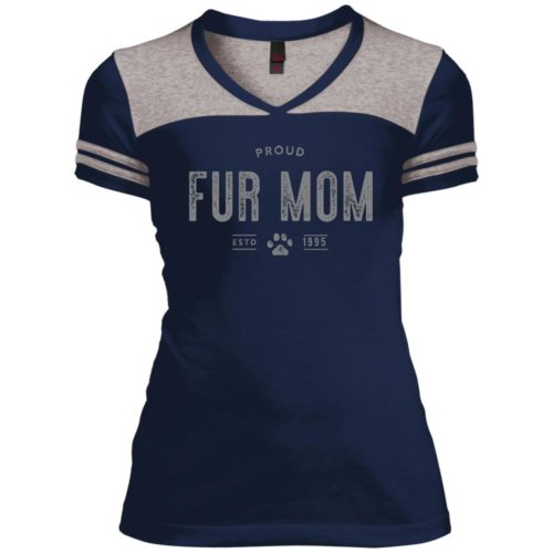 Proud Fur Mom Personalized Varsity V-Neck T-Shirt