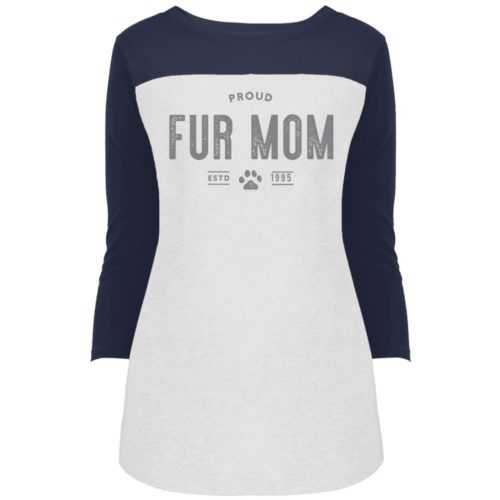 Proud Fur Mom Personalized Rally 3/4 Sleeve T-Shirt