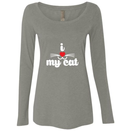 I Heart My Cat Fitted Scoop Neck Long Sleeve