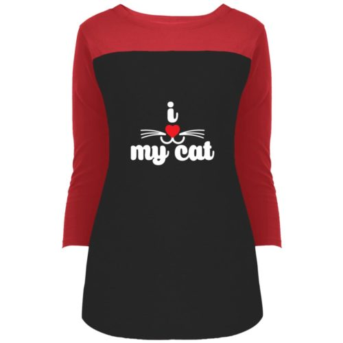 I Heart My Cat Colorblock 3/4 Sleeve
