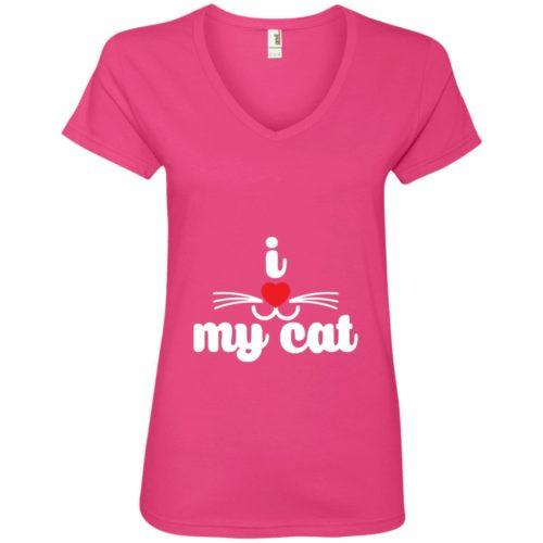 I Heart My Cat V-Neck Tee