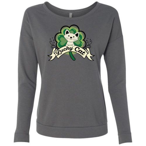 Lucky Cat Ladies' Scoop Neck Sweatshirt
